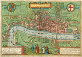 Photo:Braun and Hogenberg map of London in Credit Braun & Hogenberg