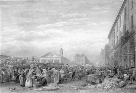 Photo:Scene of Covent Garden market drawn F Nash engraved C Allen 1824