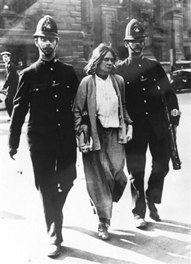 Photo:A suffragette arrested in 1914
