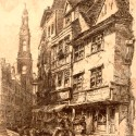 Photo:Due to the theatres located there, Drury Lane was actually the locus of most prostitution on Covent Garden. Much of it started there. Print by Ernest George, looking towards the church of St Mary-le-Strand. 1884.