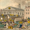 Photo:Aquatint art print of Covent Garden market. 1826-1831.