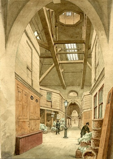 Photo:Line engraving print of the interior of Oxford Market. 19th century.