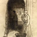 Photo:Etching of market seller on Berwick Street.