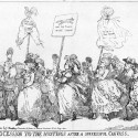 Photo:Supporters of Charles Fox  march towards the hustings which are indicated by a corner of the pediment of St. Paul's Church.  A butcher heads the procession, followed by  the Duchess of Devonshire, holding up on a pole a pair of breeches inscribed Man of the People. The other two women may be the Duchess of Devonshire's sister  Lady Duncannon and  Mrs Crewe.   Sam House is holding aloft a beer. Drawn and engraved by Thomas Rowlandson, printed by William Humphrey, 227 Strand. Satire on the Westminster election.
