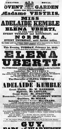Photo:Playbill for Elena Uberti, starring Adelaide Kemble at The Covent Garden Theatre. 1842.
