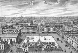 Photo:View of Covent Garden and it's adjoining streets by Sutton Nicholls, 1720.