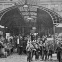 Photo:Postcard of children used as casual labour in Covent Garden Market. 1915.
