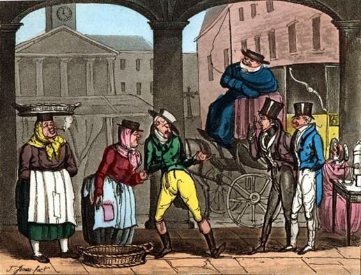 "Photo:Line engraving print of a coffee stall. Titled ""London At Five In The Morning."" 18th century"""