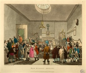 Photo:Print of interior of the Bow Street Police Office in 1808. published by Rudolph Ackermann.