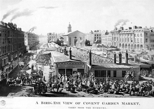 Photo:Line engraving print of a Bird's eye view of Covent Garden Market, taken from the hummums. 1811.
