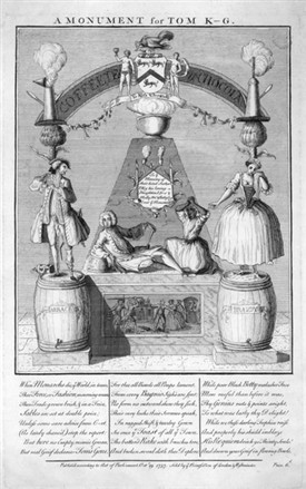 Photo:A monument proposed satirically for Tom King, proprietor of Tom King's Coffee House, Covent Garden .Black Betty also known as Tawny Betty is one of the figures depicted. 19th October, 1737