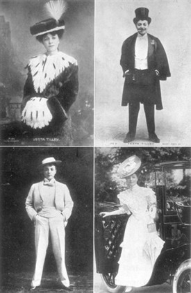 Photo:Four photographs of Vesta Tilley, a famous cross-dressing Music Hall performer most famous for recruitment performances during WWI. The Melodies Linger On: The Story of Music Hall by W. Macqueen Pope. c1900.