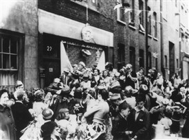 Photo:Coronation party in Betterton Street around the time Bernard moved to Covent Garden, 1953
