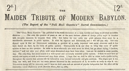 Photo:Maiden Tribute headlines, Pall Mall Gazette, 10 July 1885