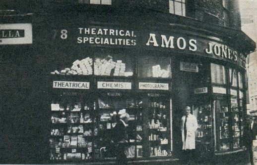 Photo:Mr. Jefferson outside of Amos Jones theatrical supply and chemist's shop on Drury Lane, established in 1785.