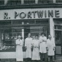 Photo:Portwine butcher's shop and staff on Earlham Street, established 1790.