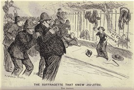"Photo:""The Suffragette That Knew Jiu-Jitsiu"" - published in Punch, 6 July 1910"