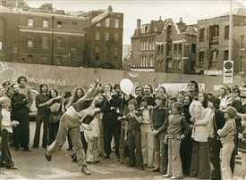 Photo:'Throw the Wellie' a popular Covent Garden festival game, c1974