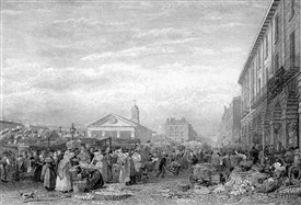 Photo:Covent Garden Market drawn by F Nash and engraved by A C Allen. 1824.