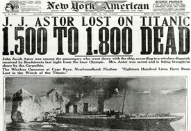 Photo:Titanic sinking front page, New York American , April 1912